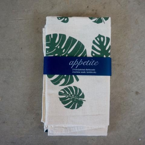 Appetite | Dishtowel Set- Monstera Print