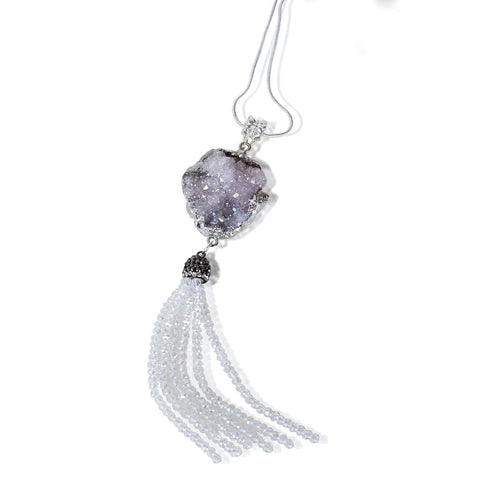 White Druzy Geode Tassel Necklace