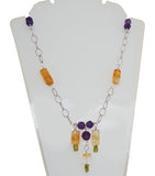 Celesta Citrine Peridot Dangle Amethyst Necklace