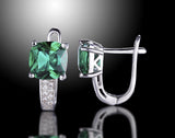 Cushion 3 ct tw Emerald Earrings