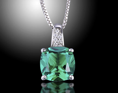 Cushion 3.2 ct Emerald Pendant