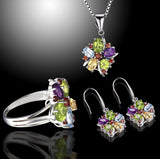 Multi Gemstone Floral Earrings