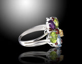 Multi Gemstone Floral Statement Ring