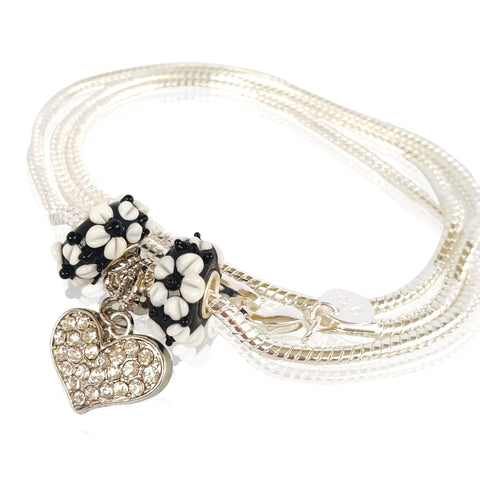 Love and Sparkle Necklace in Black Elegance