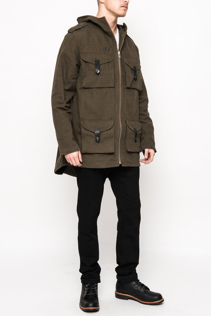 Army parka olive canvas cotton superjeans of sweden mens jacket redwing