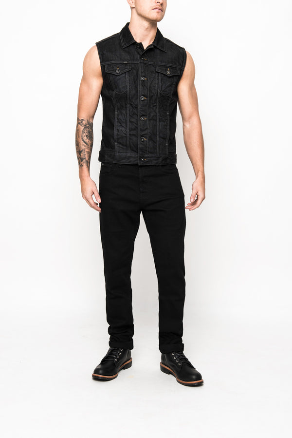 denim vest coated mens superjeans of sweden black acne