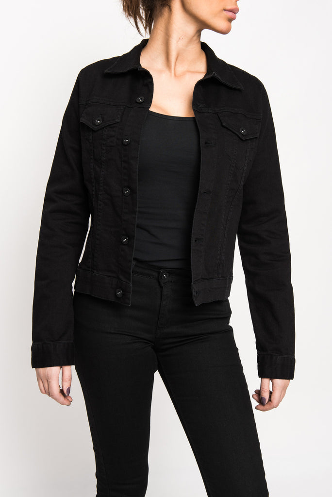 Denim jacket black superjeans of sweden