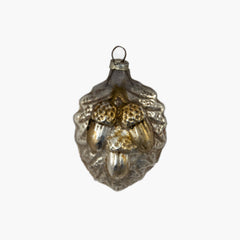 Silvered Glass Acorns Ornament