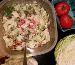 Putnam Family Farm CSA Box recipes, Mustard and Tomato Slaw