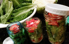 Salad Jars made up from CSA produce Box