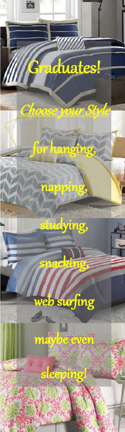 dorm Life, choose your Twin and XL Twin Comforters here