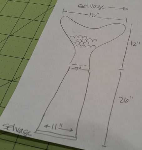 mermaid tail design to plan fabric needs