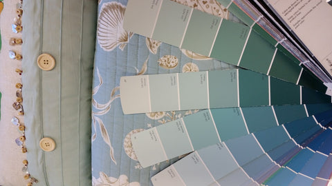 Sherman Williams paint swatches with Natural Shells Quilt
