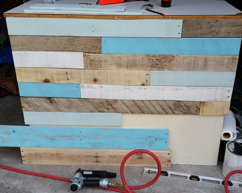painted boards for pallet project at Beach House Linens