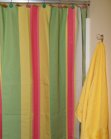 Fresh Lime Stripe Shower Curtain
