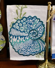 Shell Applique Linen Guest Towel