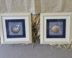 Disco Shells Navy Framed Art