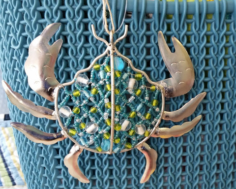 Glass Beaded Crab Ornament
