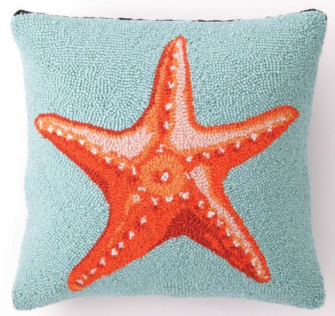 Orange Starfish on Blue Hook Pillow