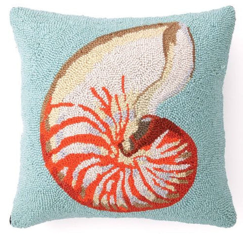Orange Nautilus on Blue Hook Pillow