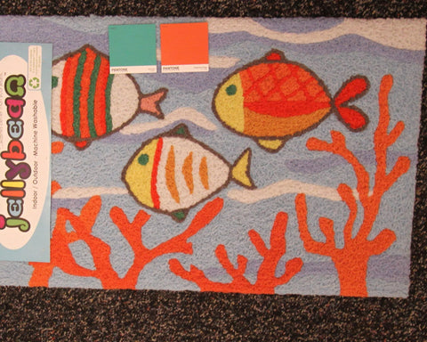Fish School in Coral Jellybean Rug