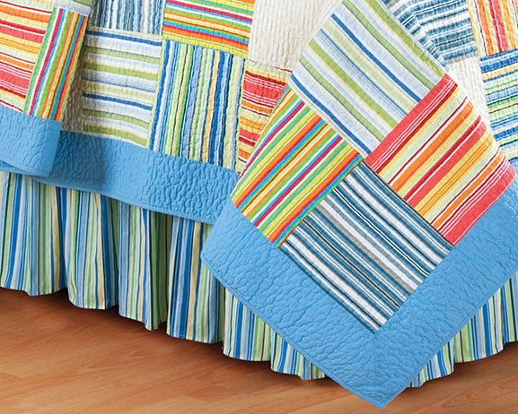 Multi Blue Yellow And Green Stripe Valance Gorgeous