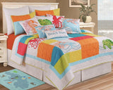 Vibrant Coastal Quilt With Turtles Seahorse And Octopu