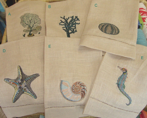 Sea Life Linen Guest Towel