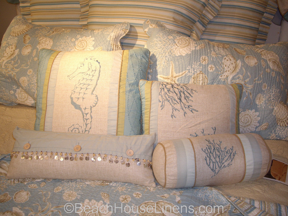 Natural Shells Quilt from C&F, reversible to stripe – Beach House ... : natural shells quilt - Adamdwight.com