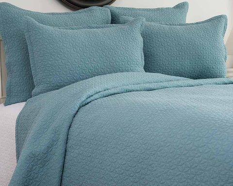 Manchester Aegean Blue Quilted Coverlet Set, includes Sham(s)
