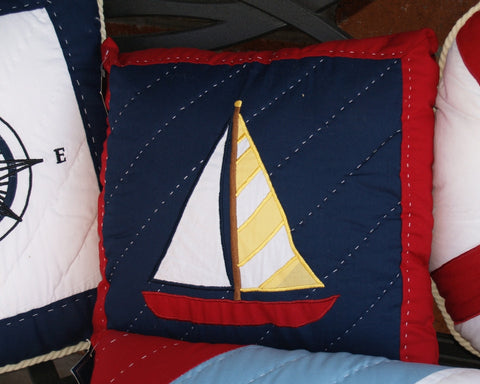 "Sailboat on Navy 14"" Pillow"