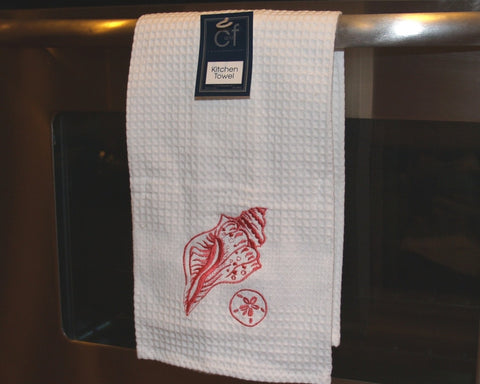 Coral Shells Embroidered Kitchen Towel