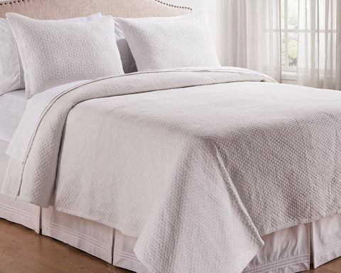Manchester White Quilted Coverlet Set, includes Sham(s)