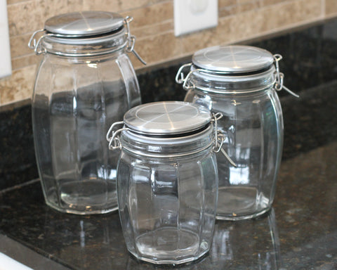 Stainless Steel Faceted Locktight Jar Set