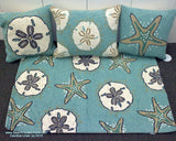 Sanddollar Aqua Square Hook Pillow