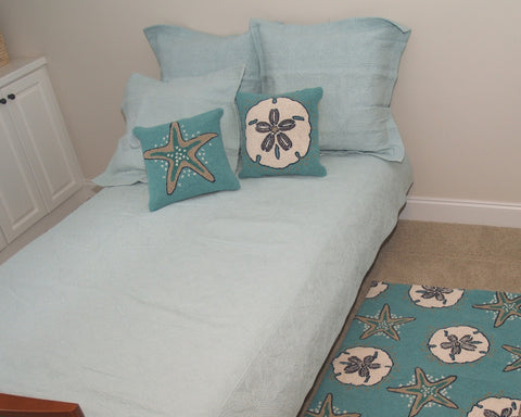 Aqua Square Quilted Solid Coverlet