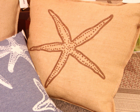 Burlap Printed Starfish Pillow