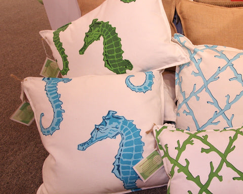 Canvas Seahorse Square Pillow