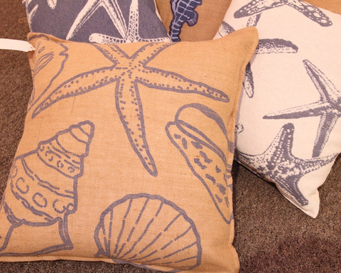 Burlap Printed Blue Shell Pillow