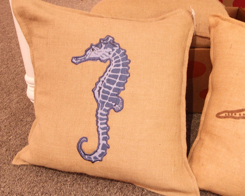 Burlap Blue Seahorse Applique Pillow