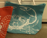 Jute Tote Bag with Sea Creatures