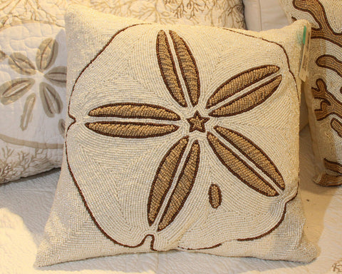 "Beaded Sanddollar 16"" Pillow"