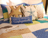 Blue Oasis Chainstitch Pillow