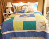 Blue Oasis Quilted Coverlet