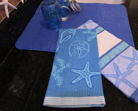 Jacquard Blue Teal  Tea Towel