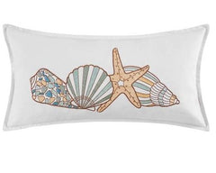 Cabana Bay 4  Shells Embroidered Pillow
