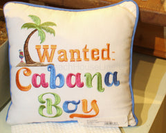 """Wanted: Cabana Boy"" Pillow"