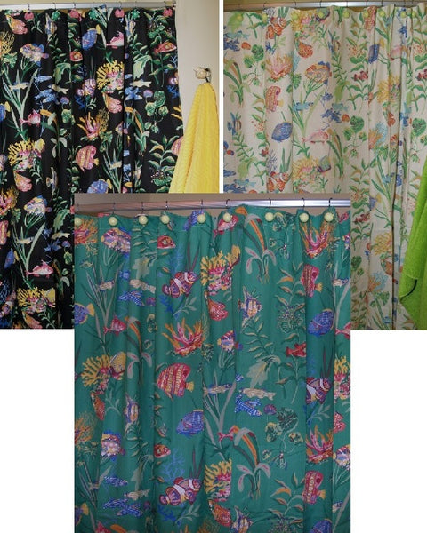 Cayman Shower Curtain Is A Fabric Ocean Fish Print