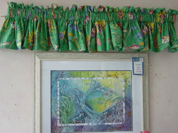 Brightly Colored Fish On Cotton Fabric Lovely Window