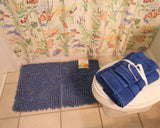 Blue Bambini Rug with Cayman White Shower Curtain